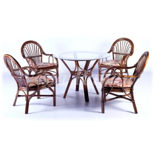 Обеденный стол со стеклом+4 кресла с подушками Candy+Tara 80 cm