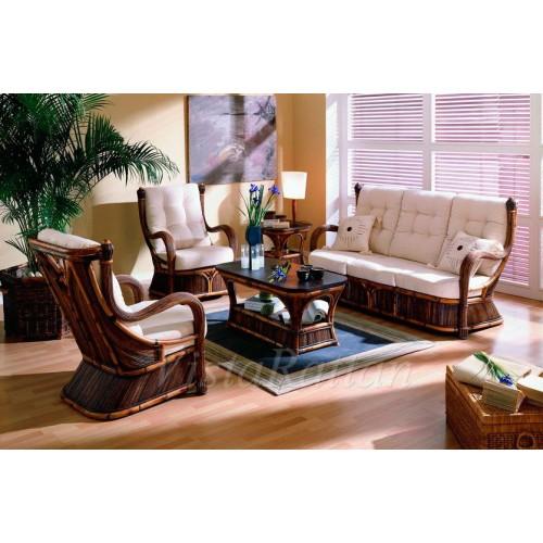 Комплект Napoleon Софа на 3 места+2 кресла с подушками+кофейный стол со стеклом